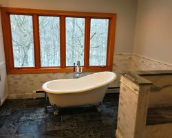 Gray Bath Clawfoot Tub And Window