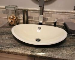 Gray Bath Sink Close Up